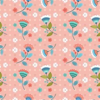 ヴィンテージカラーのシームレスなパターンで美しい花のデザイン。