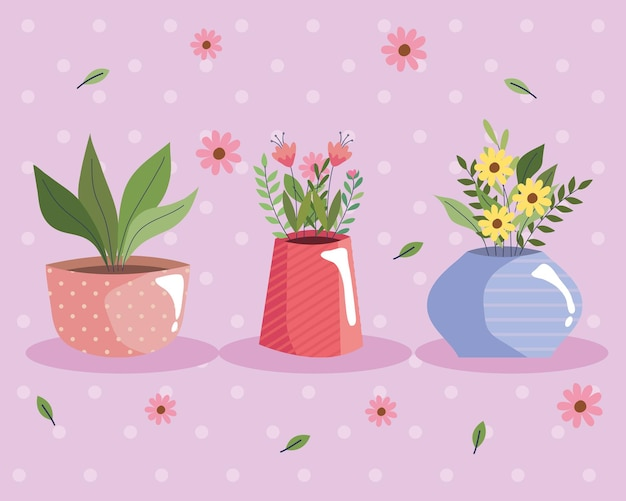 Beautiful flowers garden in colors vases and flowers pattern vector illustration design