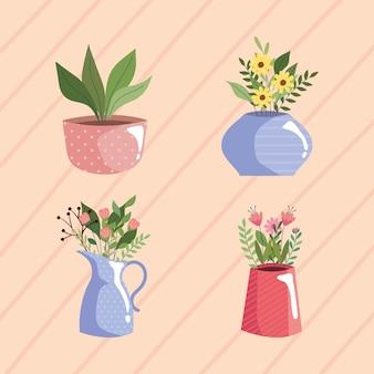 色の花瓶の美しい花の庭ベクトルイラストデザイン