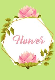 バラと葉の円形フレームと美しい花の庭のレタリング