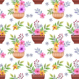 ポットのシームレスなパターンの美しい花