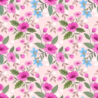 ファブリックテキスタイルの壁紙のための甘いピンク色のシームレスなパターンの美しい花。