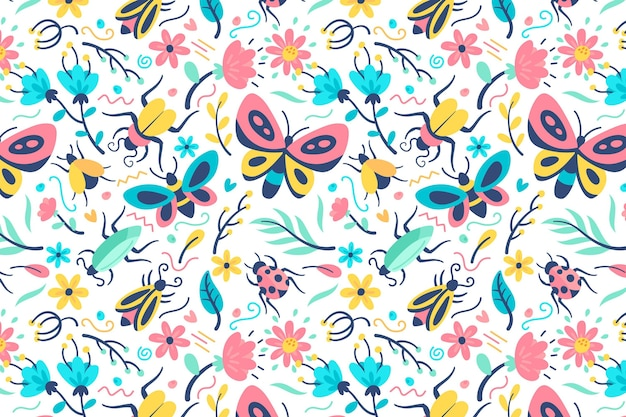 Beautiful flowers and insects pattern