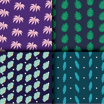 Beautiful flowers and leafs set patterns