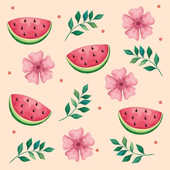 Beautiful flowers and leafs with watermelons pattern  illustration