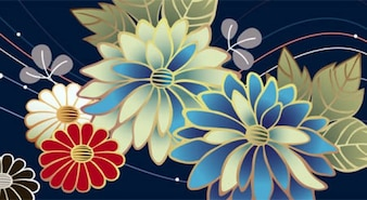Beautiful flowers line abstract background