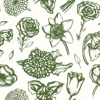 美しい花-単色のベクトル手描きのシームレスなパターン。リアルなバラ、スズラン、チューリップ、デイジー、アイリス、ユリ、菊、カーネーション、ポピー、水仙。