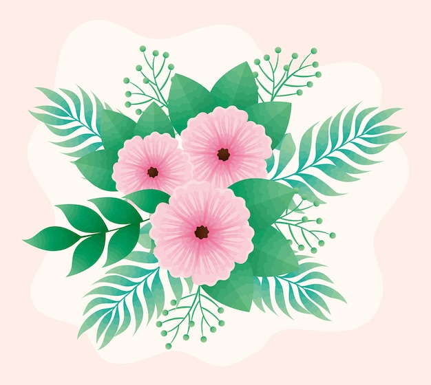 ピンクの美しい花と葉の装飾的なデザイン