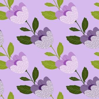 美しい花のシームレスなパターン。植物学のテクスチャ。かわいい花の壁紙。