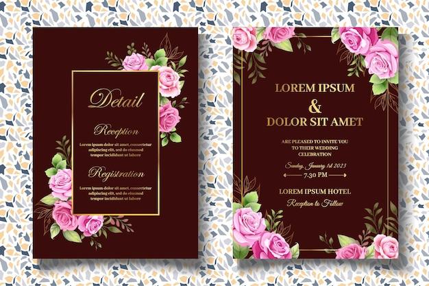 美しい花の結婚式の招待カードセット