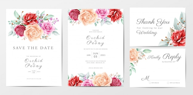 Beautiful flowers wedding invitation cards template set