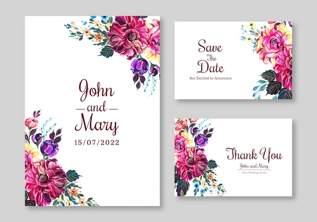 Beautiful flowers widding card template