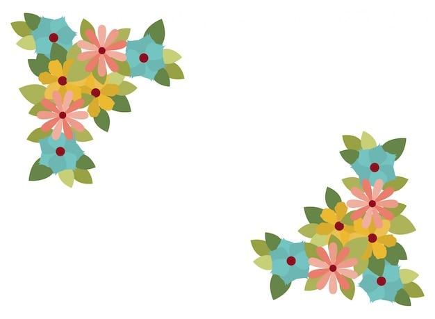 Красивые цветы с листьями изолированных значок