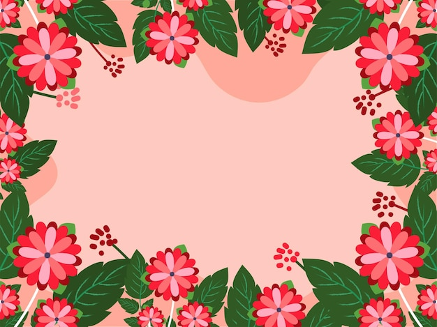 Beautiful flowers with leaves decorated on red background