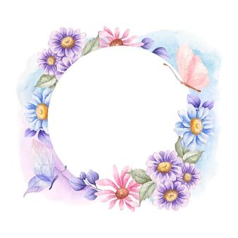 봄 꽃과 함께 아름 다운 비행 나비
