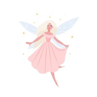 白で隔離のエレガントな夜会服でブロンドの髪の美しい空飛ぶ妖精