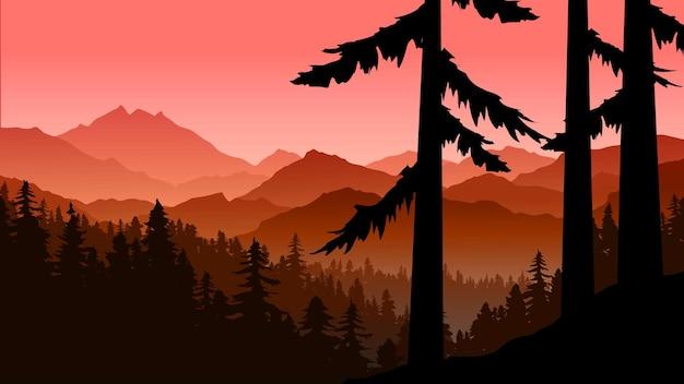 Красивый туманный горный лесной пейзаж в силуэт