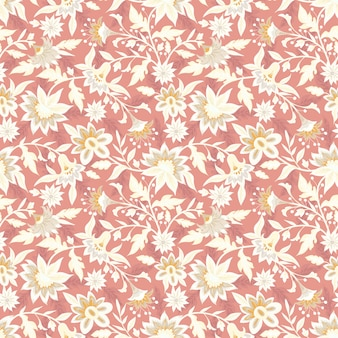 Beautiful folk single color floral pattern