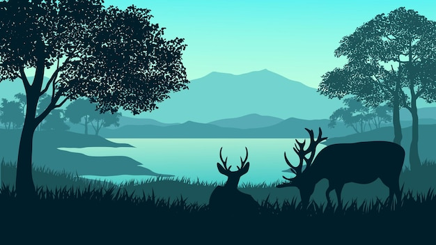 Beautiful forest landscape silhouette with elk