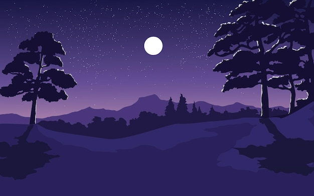 Beautiful forest night with moon and stars