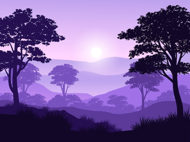 Beautiful forest sunrise landscape