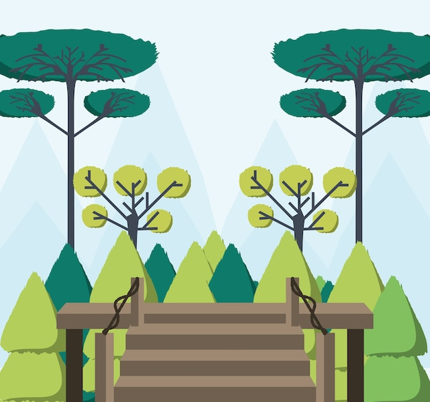 목조 주택에서 아름 다운 숲보기