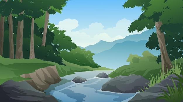 개울과 산이 있는 아름다운 숲