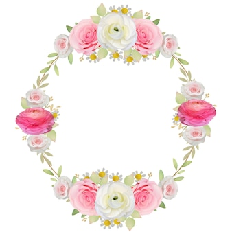 Beautiful frame background with floral pink ranunculus and rose flowers