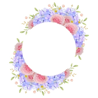 Beautiful frame background with floral pink roses and hydrangea