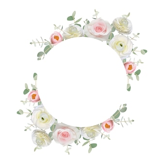 Beautiful frame background with floral ranunculus and rose flowers