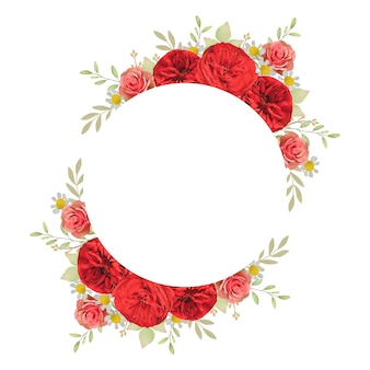 Beautiful frame background with floral red roses