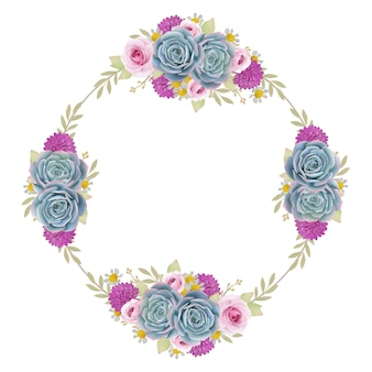Beautiful frame background with floral roses and succulent
