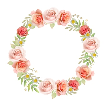 Beautiful frame background with floral roses