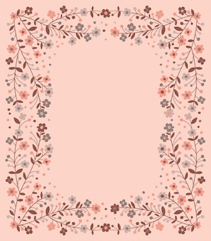 Beautiful frame of flowering branches on pink background