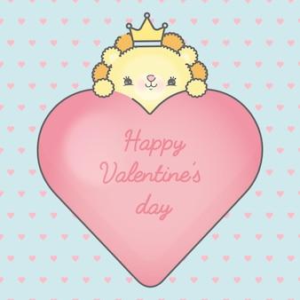 バレンタインデープレミアムの美しいフレームライオンとハート