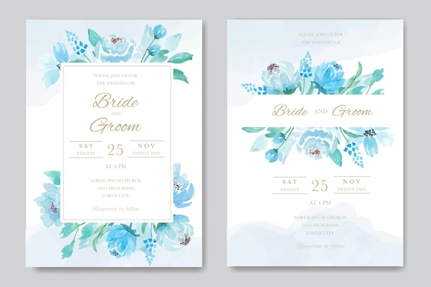 青いバラの美しいフレームのウェディングカード