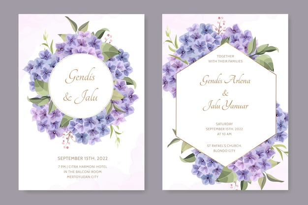 Beautiful frame wedding card with hydrangea flower