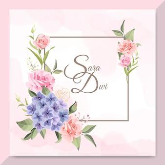 장미와 아름다운 프레임 웨딩 카드