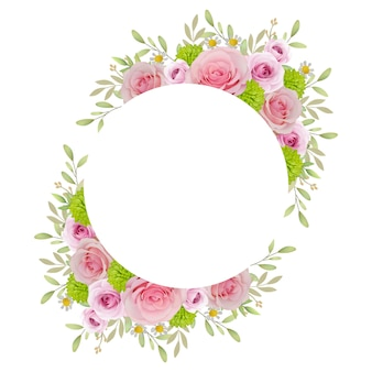 Beautiful frame with floral pink roses