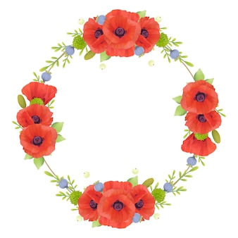 Beautiful frame  with floral red poppy flowers