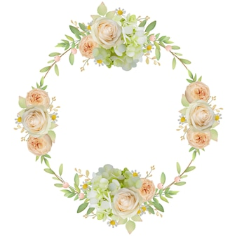 Beautiful frame with floral roses and hydrangea