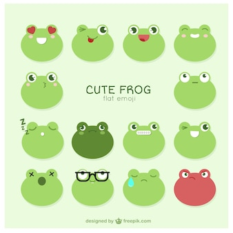 Beautiful frog emoticons set