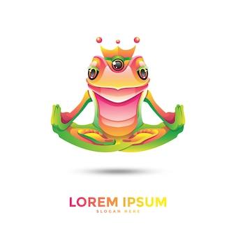 Шаблон логотипа красивая лягушка