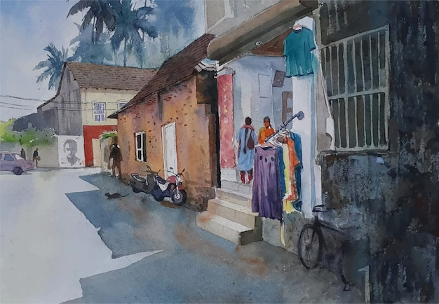 Beautiful front view of home watercolor