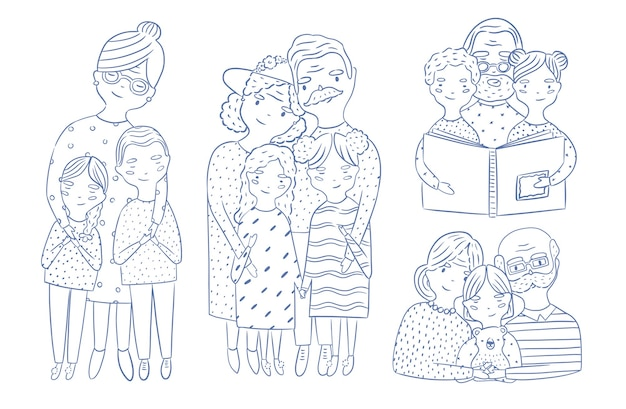 Beautiful full body and waist-up portraits of grandparents with granddaughter and grandson hand drawn with contour lines. loving grandmother and grandfather with grandchildren. cartoon characters.