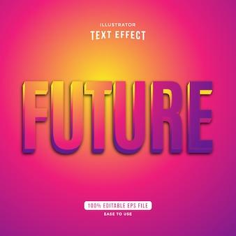 아름다운 미래 그라디언트 텍스트 효과, 편집 가능한 텍스트