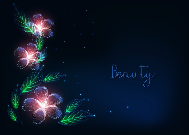 Beautiful futuristic floral web banner template with glowing low poly purple flowers, green leaves