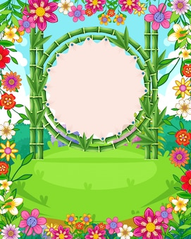 Beautiful garden background with flowers and blank sign bamboo vector
