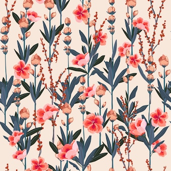 Beautiful  Garden floral pattern of flowers botanical