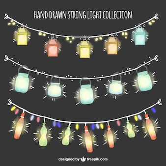 Beautiful garlands with watercolor lanterns